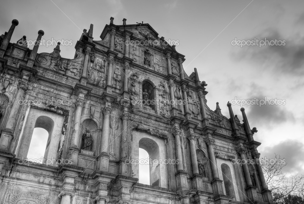 Macau world heritage, Ruins of St. Paul's in night. — Stock Photo #3799504