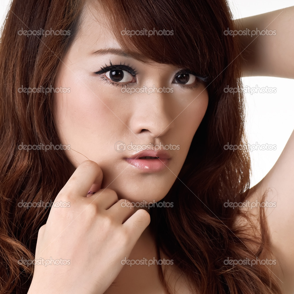 Pretty oriental woman, closeup portrait Asian lady.  Stockfoto #3913399
