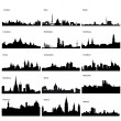 Detailed vector silhouettes of European cities - Stok fotoraf
