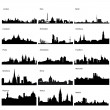 Detailed vector silhouettes of European cities - Stock Photo
