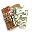 Royalty-Free Stock Photo: Brown croco leather wallet with dollars