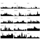 Avrupa şehirleri ayrıntılı vector silhouettes — Stok fotoğraf