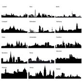 Detailed vector silhouettes of European cities — 图库照片