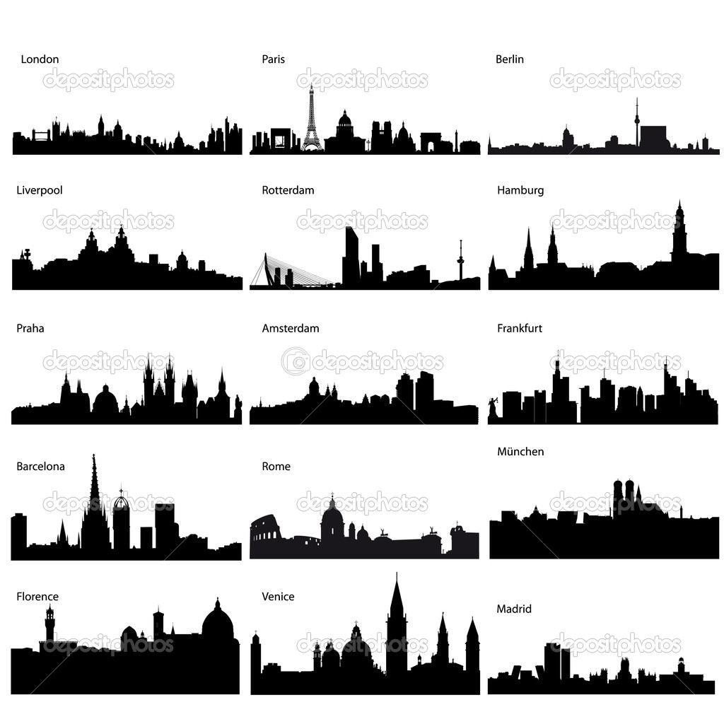 Detailed vector silhouettes of European cities  — Stok fotoğraf #3671109