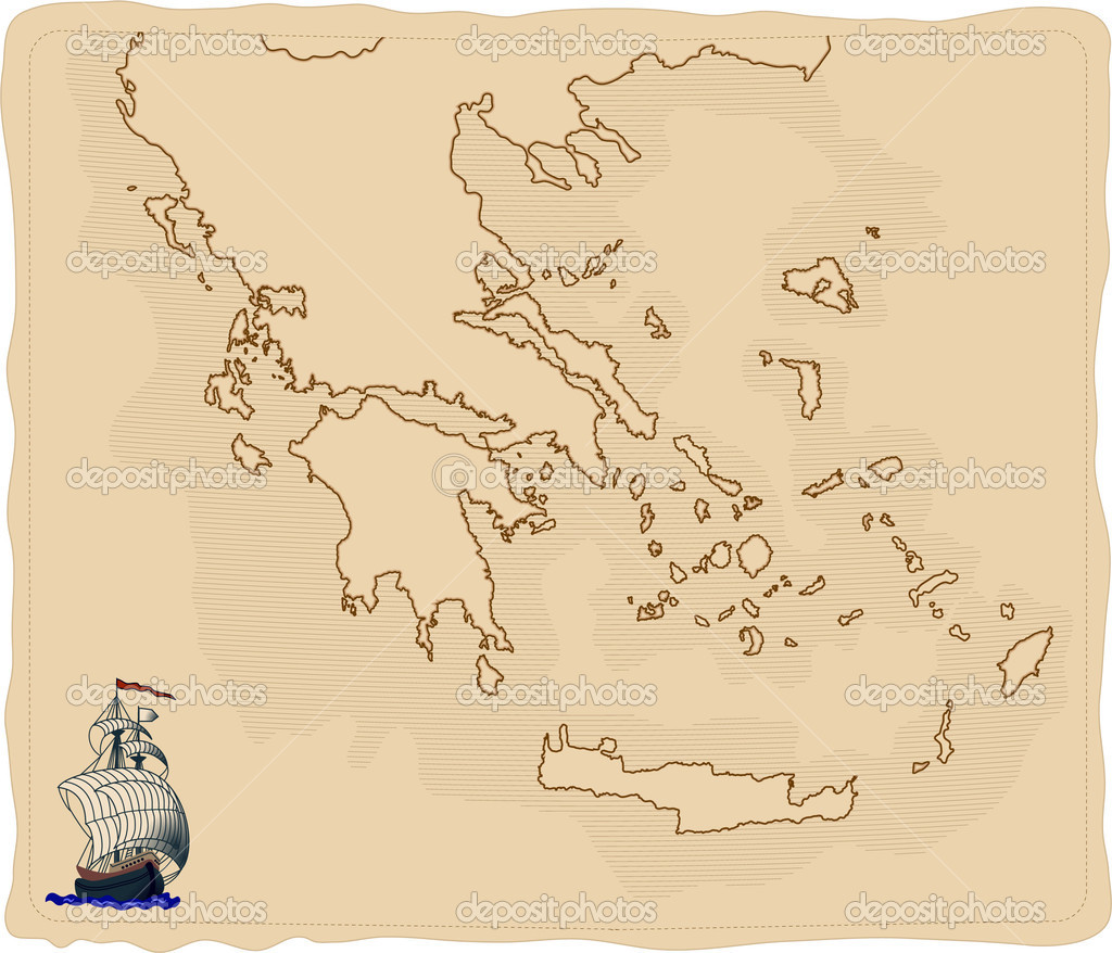 Stylised old Greece map — Stock Photo #3701739