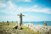 Landscape from stones lake Baikal — Stock Photo