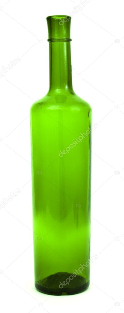 Bottle from green glass on a white background  Stock Photo #2982728