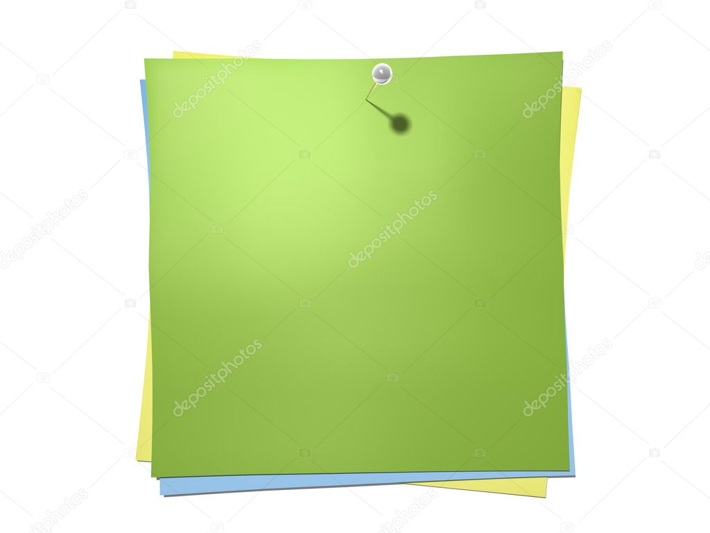 An isolated batch of notes with a pin — Stock Photo #3351797