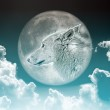 Wolf in the moon — Stock Photo