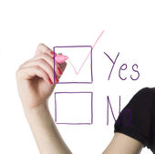 Filling in the yes-box — Stock Photo