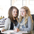 Two girls studying — Stock Photo