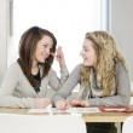 Two girls studying — Stock Photo