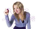 Girl making a mindmap — Stock Photo