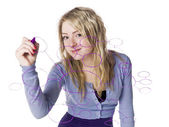 Girl making a mindmap — Stock Photo