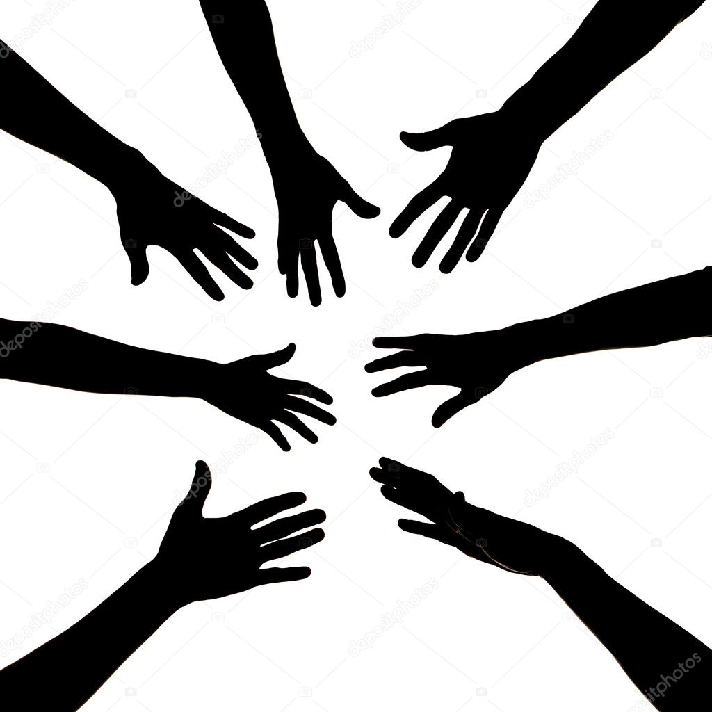 Silhouette of seven hands — Stock Photo #2916488