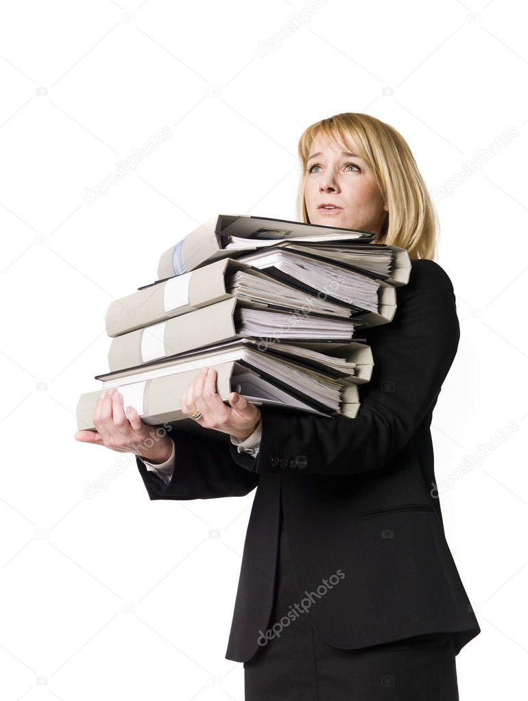 Woman overloaded with work isolated  Stock Photo #2924262