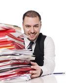 Uomo dietro una scrivania ufficio — Foto Stock