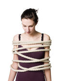 Tied up woman — Stock Photo