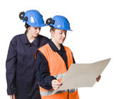 Female buildingconstructors — Foto Stock