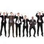 Jumping businessmen — Stock Photo