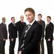 Boss in front of his team — Stock Photo