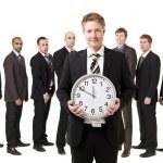 Obchodní manažer s hodinami — Stock fotografie