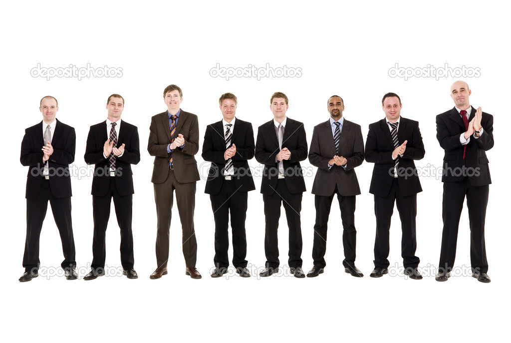 Group of men clapping hands isolated on white background — Stock Photo #3015310