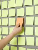 Human and Adhesive Notes — Stock Photo