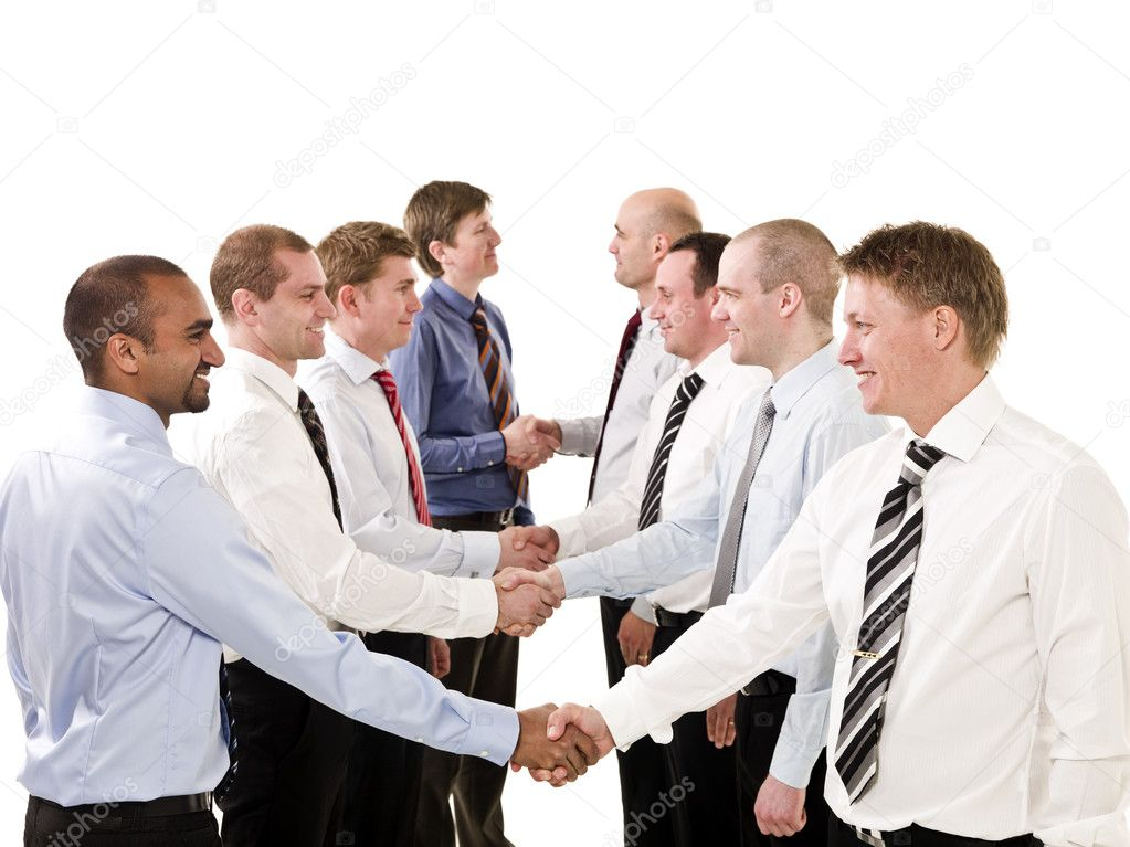 Businessmen shaking hands isolated on white background — Stock Photo #3183045