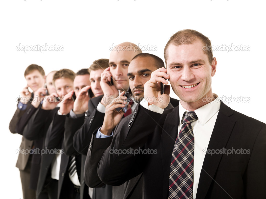 Group of business men on the phone isolated on white background — Stock Photo #3193538
