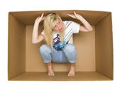 Woman inside a Cradboard Box — Stock Photo
