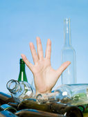 Buried in bottles — Stock Photo