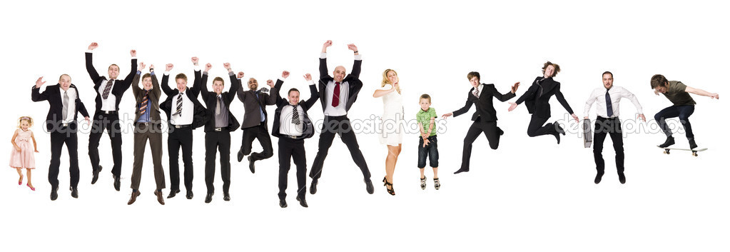 Group of Jumping isolated on white Background — Stock Photo #3777341