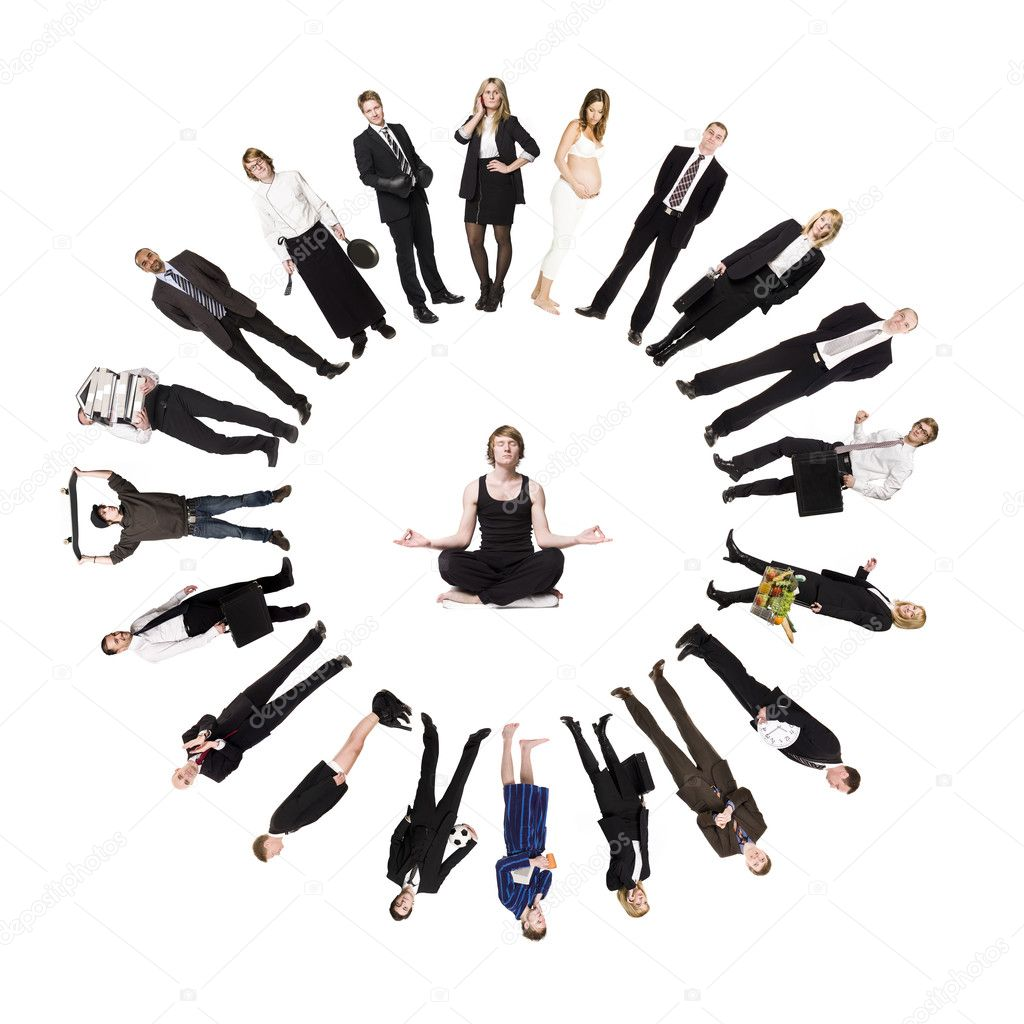Circle of real with a man meditating in the middle — Stock Photo #3777352