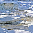 Snow banks and raging river - Stock Photo