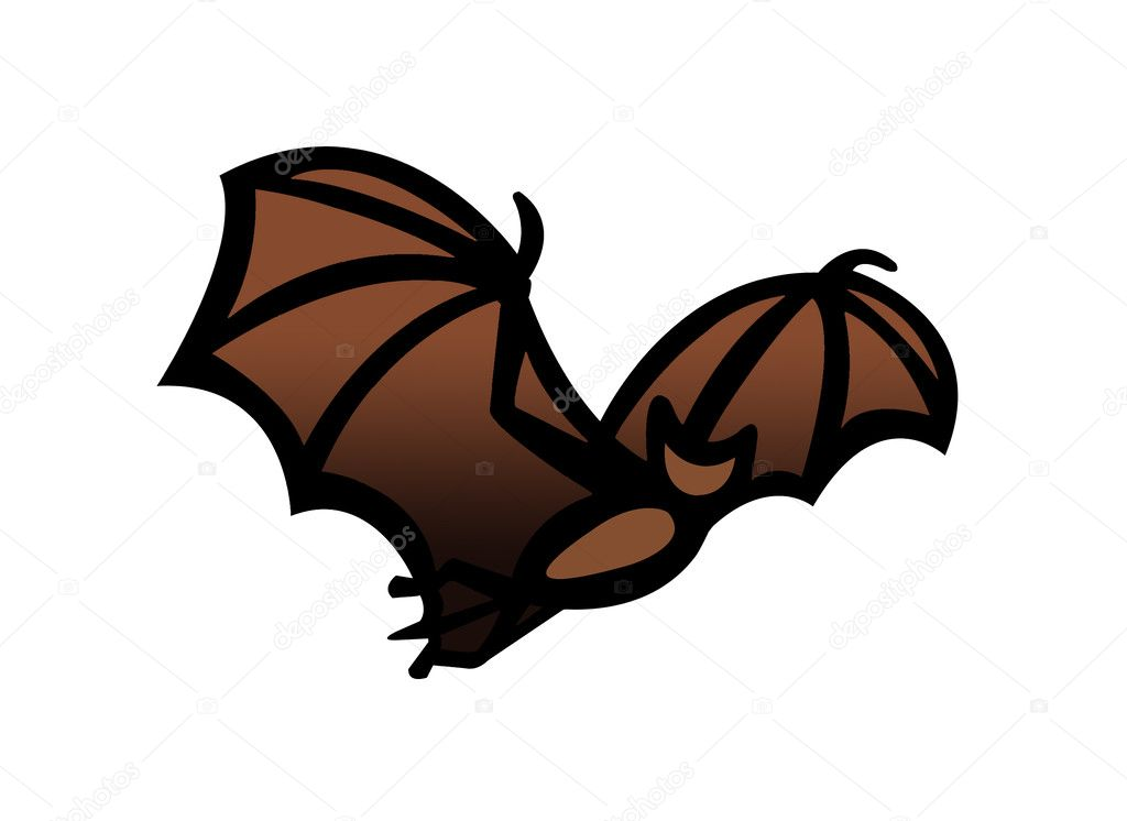 Simple drawing illustration clipart of a bat in flight,great Halloween symbol  Stock Photo #3625302