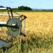 Harvester and barley — Stock Photo
