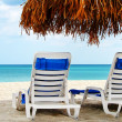 Two empty chairs by the sea - Stock Photo
