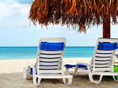 Two empty chairs by the sea — Stock Photo