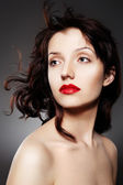 Luxury woman with juicy red lips — Стоковое фото