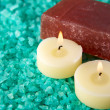 Sea-salt, candles and soap — Stock Photo