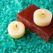 Stock Photo: Sea-salt, candles and soap