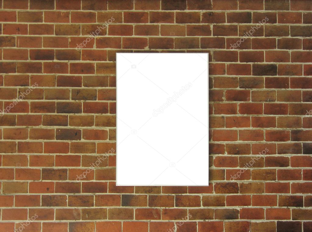 Brick wall with white board — Stock Photo #2822377