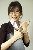 Thumb up white collar — Stock Photo