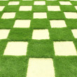 Beautiful grass tiles in a garden - Stock Photo