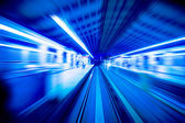 Speedy trains passing train station. — Stock Photo