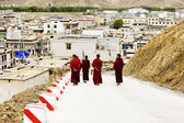Few monks walking — Stock Photo
