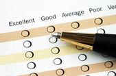 Wypełnienie ankiety satysfakcji klienta — Zdjęcie stockowe