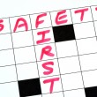 Safety First text in a cross word puzzle — Stock Photo
