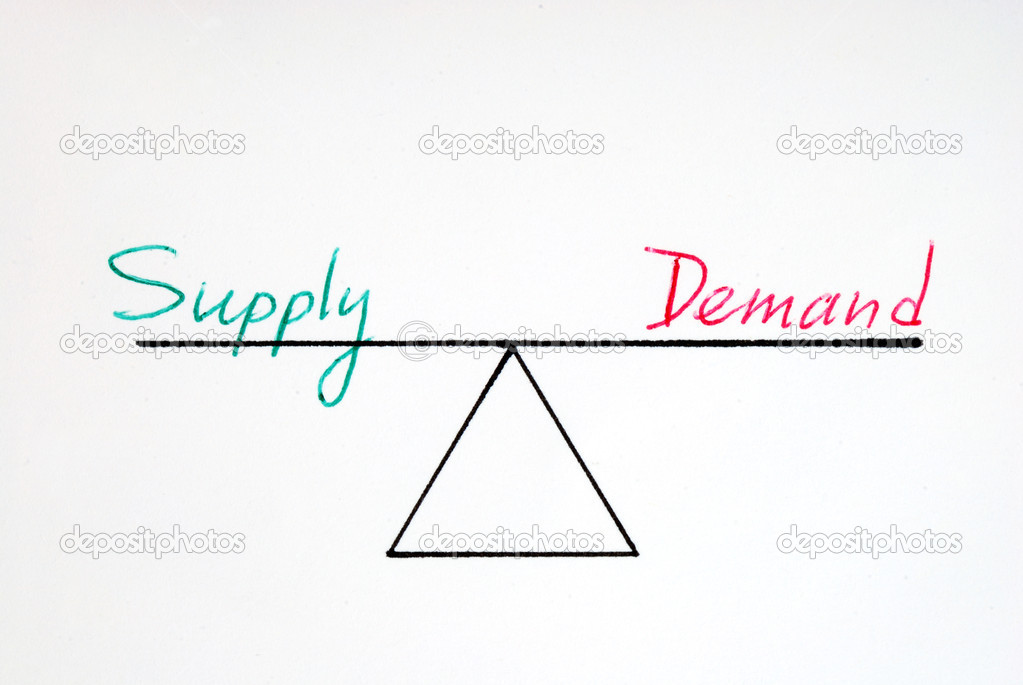 Supply and demand at the equilibrium state — Stock Photo #3082961